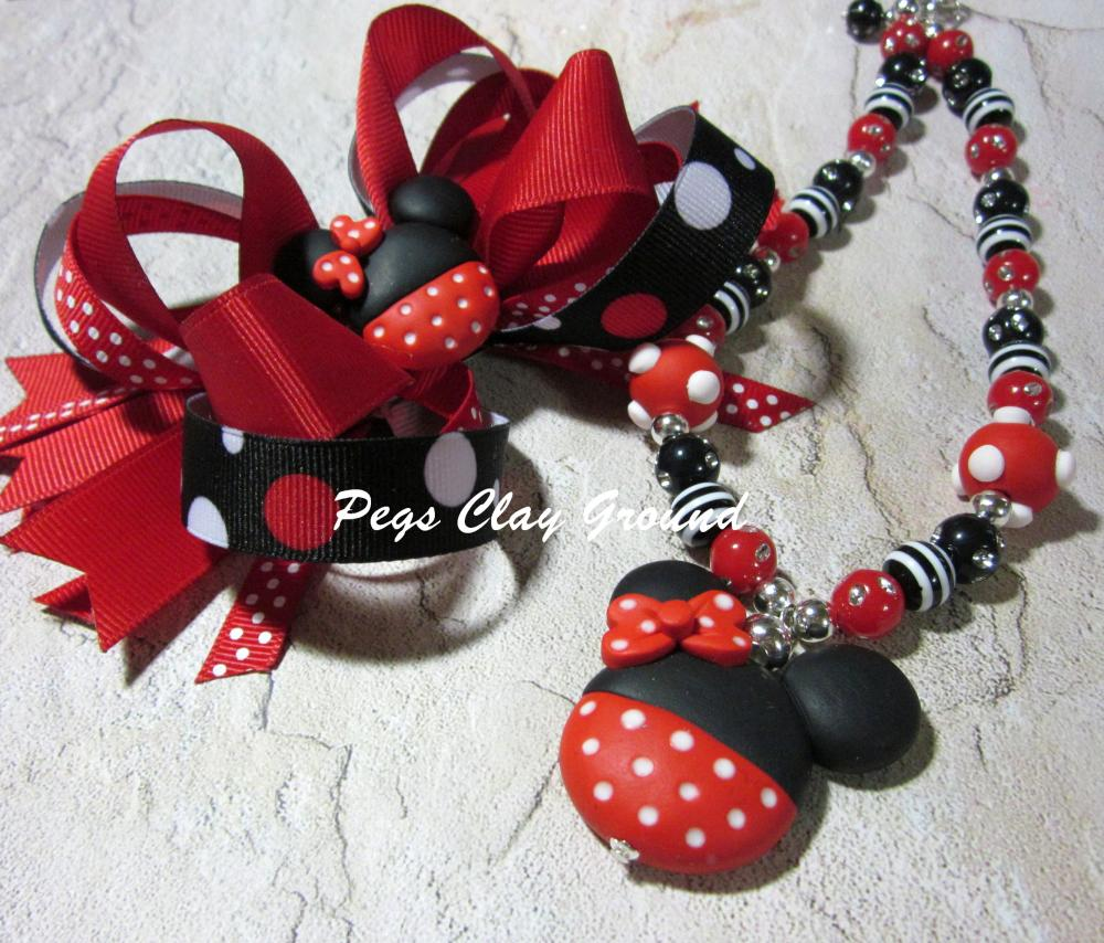 Minnie Mouse Inspired Necklace Bracelet Set